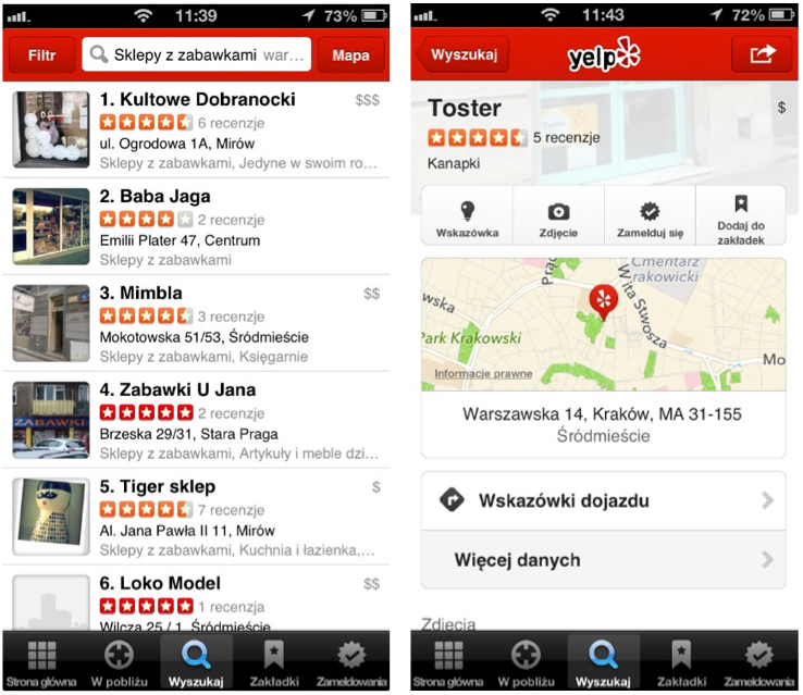 Yelp Poland Screenshot