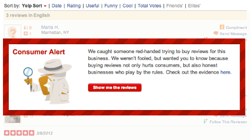 Yelp flags businesses they suspect are buying reviews.